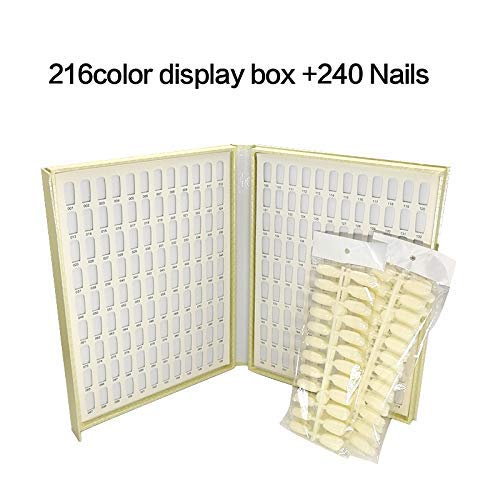 TEN-G Nail Gel Color Card Chart & Nail Tips Nail Polish Display Box Blank Book Panels Inlaid Snap for Nail Art Salon Tools - (Color: pink216) Panel Snap