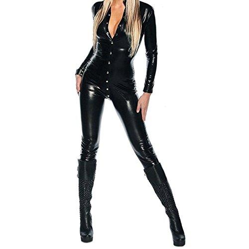 YiZYiF Sexy Overall Lack Anzug WetLook Catsuit Bodys Dessous Nachtkleid Party Clubwear Kostüm (Einheitsgröße, Schwarz)