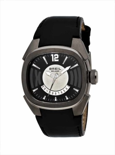 BREIL WATCH EROS 3H GENT SILVER/BLACK IP GUN BLACK STRAP BW0312