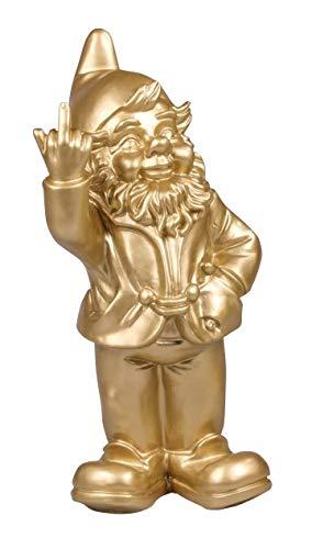 Stone-Lite Figur - Gartenzwerg mit Stinkefinger - 20 cm - goldfarben - lustiges Geschenk