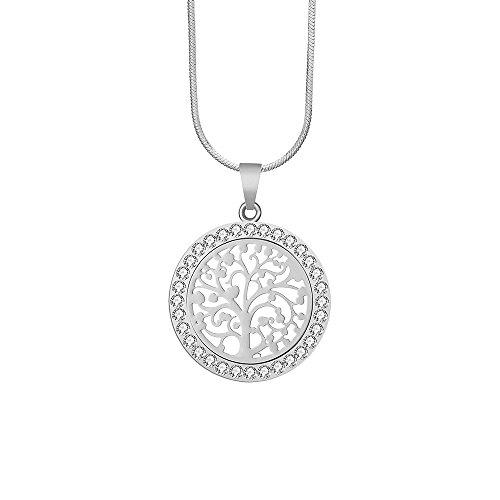 Halsband-Halskette der Art- und Weisefrauen, keltischer Baum des Lebens hängende Halskette für Mädchen-Ketten-Mantel-Halskette mit CZ-Kristall, der...