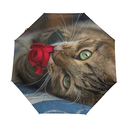 FOOFLH Fox Tabby Katze Mit Rose Gedruckt Automatische Regenschirm Mode 3 Falten Sonnenschirm Regen Frauen Männer Regenschirm Winddicht Sonnenschirm -