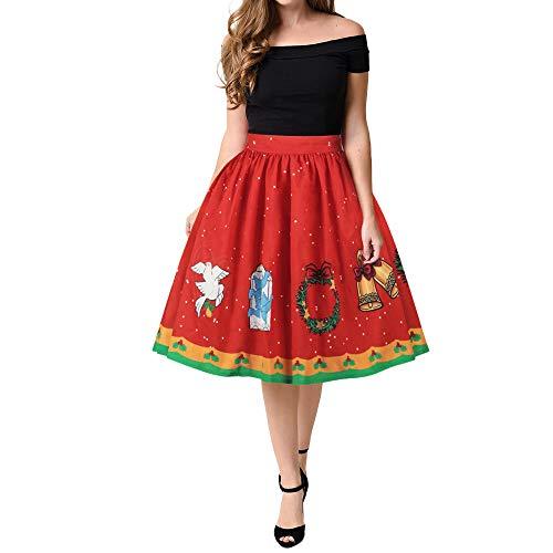 Weihnachten Rock Lilicat Frauen Mädchen Chic Midi Rock Abend Party Kleid Cocktailkleid Vintage...