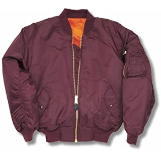 MA1 BOMBER JACKET WITH HEAVY BRASS ZIP (L, MAROON)