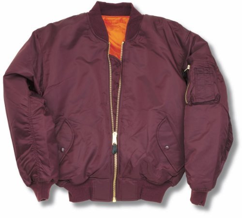 MA1Bomber Flight giacca con cerniera in ottone pesante Maroon S