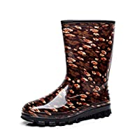 HHYHOME Womens Waterproof Wellies Rain Boots Short Leg Half Height Wellington Boots Easier on Off Good Rubber Shoes for Wider Calf Fitting