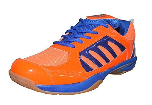 Port Men's Blue XElerte Pu Badminton Shoe For Men, Boys, Women, Girls & Junior Upper PU Material Non Marking Sole Outdoor Indoor Playing - Best in Badminton & Other Games Basketball, Volleyball, Running, Gymnastic, Jogging, Walking & Weight Lifting Sports Shoe (Size 7 UK/IND)