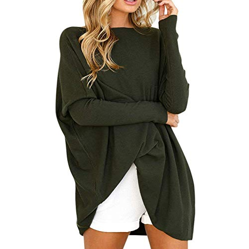 Damen Shirt Herbst Elegant Casual Ärmel Eng Umstandsmode Langarm Lose Asymmetrisch Einfarbig Fledermaus Batwing Sweatshirt Pullover (Color : Grün, Size : S) - Lite-source-grün