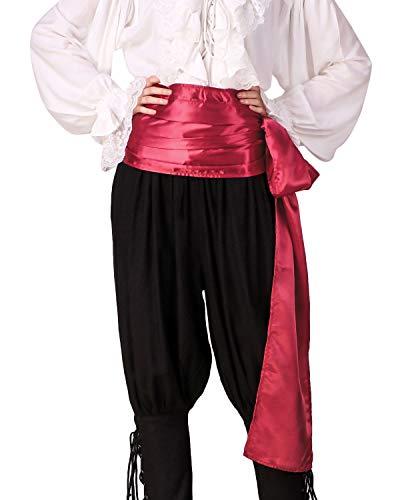 Renaissance Pirat Kostüm - C1417 Schärpe, Pirat, mittelalterliche Renaissance, Leinen, groß Gr. onesize, Red (Satin Fabric)
