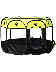 HJL Plegable Oxford Cloth Dog House Suave Invierno Gato Cama Pet Fence Nido Net Puppy Gran Perros Cage Playpen Ejercicio Canetas Kennel (Verde, 73*73*43CM)