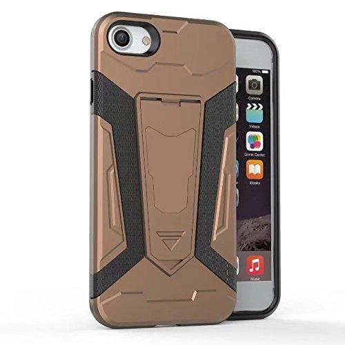 EKINHUI Case Cover Neue Rüstung Tough Style Dual Layer Hybrid Armor Defender PC Hard Shell Cover mit Kickstand [Shockproof Case] Für IPhone 7 ( Color : Black ) Brown