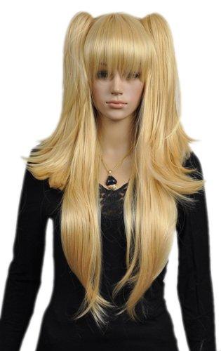 QIYUN.Z Haarteile Damen Perücken Gerade Lange Blonde Pferdeschwanz Zwei Gelbe Loli Lolita Cosplay Volles Haar Anime Kostüm Perücke (Blonde Lolita Perücke Für Erwachsene)