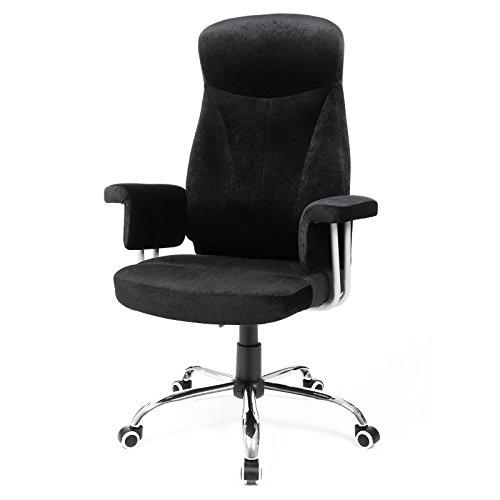 Songmics Bürostuhl Relaxstuhl mit verstellbarer Rückenlehne Samtbezug schwarz OBG41B