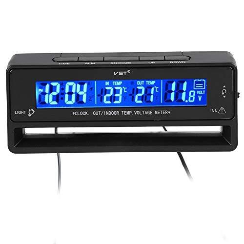 Igrometro Digitale termometro Display Temperatura misuratore di Tensione Monitor LED Orologio LED retroilluminazione Display misuratore per Auto Interna ed Est