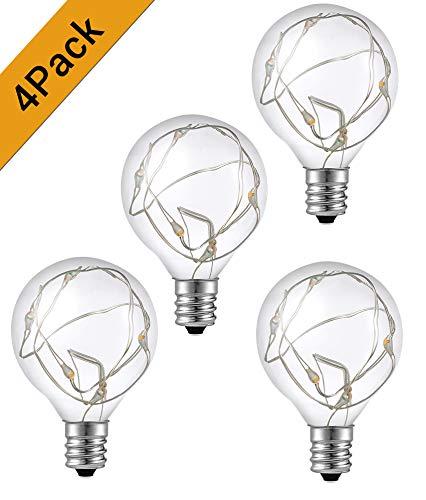 Quntis 4er Pack G40 LED Glühbirnen E12 Sockel, 0,1W Energiesparend, IP65 Wasserdicht Ersatzbirne für Garten Party Lichterkette Innen/Außen -
