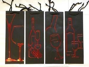 Sac Cadeau Bouteille Vin Luxe Noir Lot De 4 Dessin Rouge