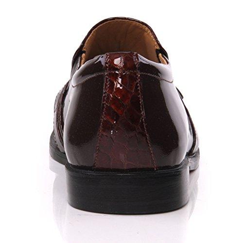 "Unze Herren- Leder 'Nitin ""Slipons Buckled formales Kleid-Schuhe - IMP-M5AL Braun"