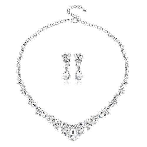 mecresh Clear Strass Halskette und Ohrringe Sets Brautschmuck Geschenk für die Braut