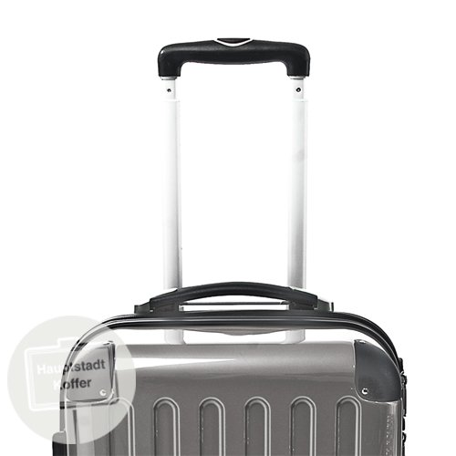 HAUPTSTADTKOFFER® 42 Liter Hartschalenkoffer · Boardcase · Handgepäck (55 x 35 x 19 cm) · Hochglanz · TSA oder Zahlenschloss + DESIGN KOFFERANHÄNGER (Zahlenschloss, Titan) -