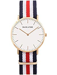 Alienwork Classic St.Mawes Reloj cuarzo elegante cuarzo moda diseño atemporal clásico Nylon oro rosa azul U04820L-02
