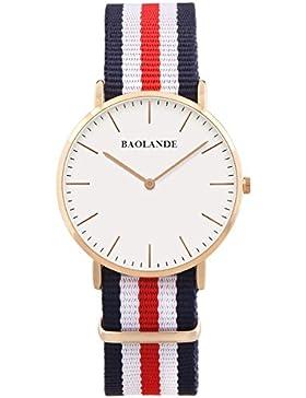 Alienwork Quarz Armbanduhr Ultra-flach Uhr Herren Uhren Damen Zeitloses Design Nylon rose gold blau U04820G-02
