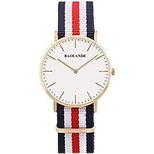 Alienwork Reloj cuarzo Ultra-delgada relojes mujer hombre Diseño intemporal Nylon oro rosa azul U04820L-02