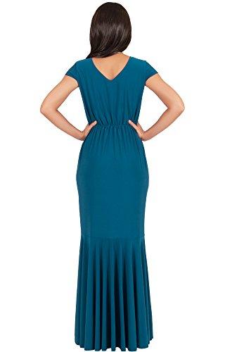 KOH KOH® Femmes Robe Longue Manches Courtes Forme Sablier Ebouriffée Bleu Bleu Sarcelle