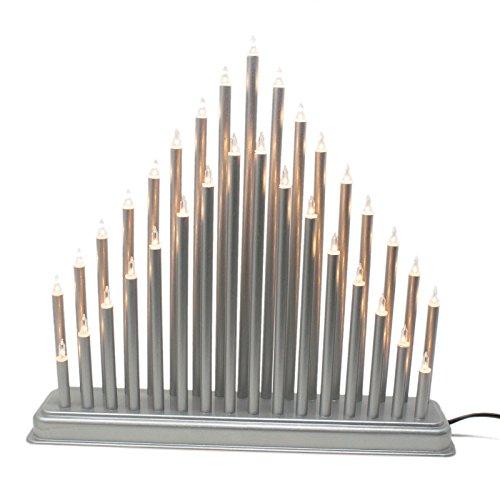 ToCi Design Lichterbogen Silber Schwibbogen mit 33 Lampen (36x33cm) Weihnachts Leuchter