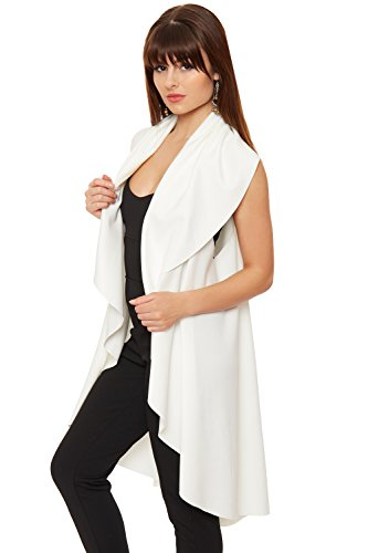 WEARALL Femmes Long Open Cascade Cardigan Mesdames Wasitcoat Gilet Haut - 36-44 Crème
