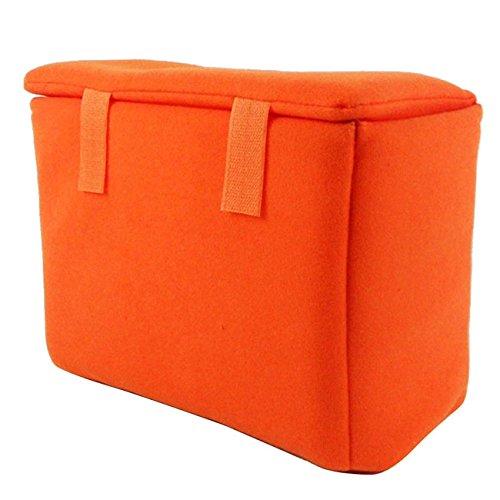 GenialES Organizador Acolchado Protector Antichoques para Cámaras SLR DSLR Bridge CSC con 3 Separadores Desmontables para Bolso Morral Naranja