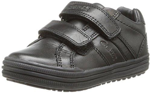 Geox Elvis K, Garçon Chaussons Sneaker, Noir (Black), 40 EU (Top Fuß Stitch)