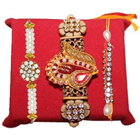 Mandala Creations Rakhi set with Haldiram Soan Papdi Marvelous Pearl Rakhis - Marvelous Pearl Set