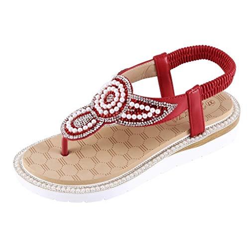 Stylische Boho Damen Sandalen Flacher Boden,Sommer Römische Schuhe-Riemchensandalen Strand Comfort Outdoor Schuhe,Freizeit Pantolette URIBAKY