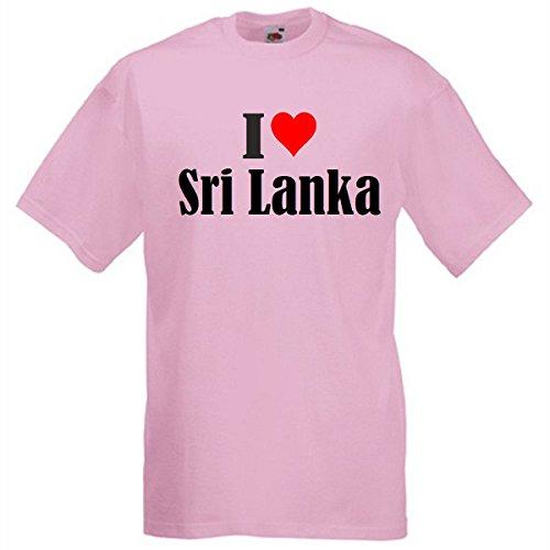 """T-Shirt """"I Love Sri Lanka"""" für Damen Herren und Kinder in Pink Pink"""