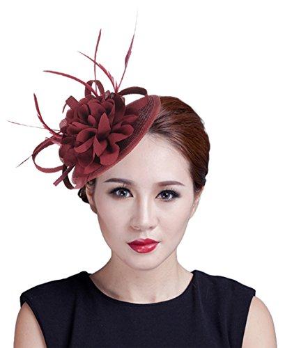 GEMVIE Chapeau Bibi Mariage - Fascinator Femme - Chapeau Fleur Plume Pince à Cheveux pour Soirée Cérémonie Cocktail (Rouge foncé)