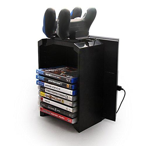 Foto de Samoleus Torre de almacenaje multifuncional con Estación de carga de controlador y Soporte de la consola para Sony Playstation 4 PS4 (Controller Holder for PS4)