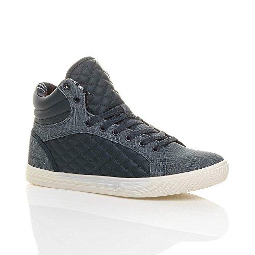 Scarpe da ginnastica da uomo stringate hi high sneakers imbottite casual caviglia alta numero Blu marino