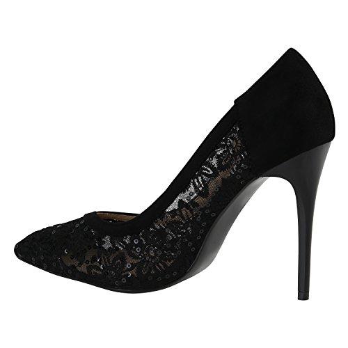 Elegante Damen High Heels Spitze Pumps Lack Metallic Schuhe Stiletto Samt Glitzer Nieten Abendschuhe Business Schuhe Flandell Schwarz Black Spitze