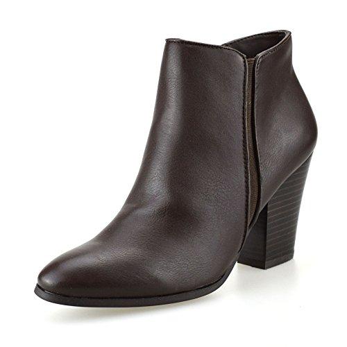 ladies-womens-mid-block-heel-zip-up-cowboy-biker-chelsea-ankle-boots-shoes-sizeuk-5brown
