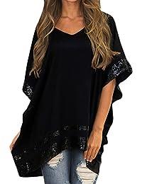 Chemisier Femme Chic Casual Manche De Chauve-Souris Grande Taille  IrréGulier Swing Longues Tops Blouse Mode Sweat Sweatshirt Chemise T… b0294e82e71