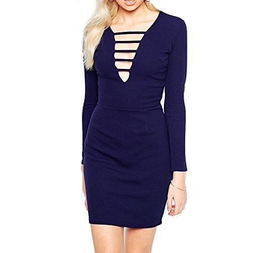 RE TECH UK donna da donna manica lunga Cage coi Lacci Zip Scollo a V profondo Mini vestito aderente Navy
