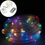 Smartfox 5m LED Lichterschlauch Leuchtdraht batteriebetrieben 8 Leuchtmodi und Fernbedienung für Innen Außen IP44 in multicolor