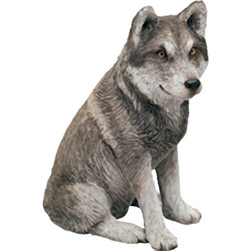 Sandicast Mid Größe Grau Mexikanischer Wolf Skulptur, sitzend