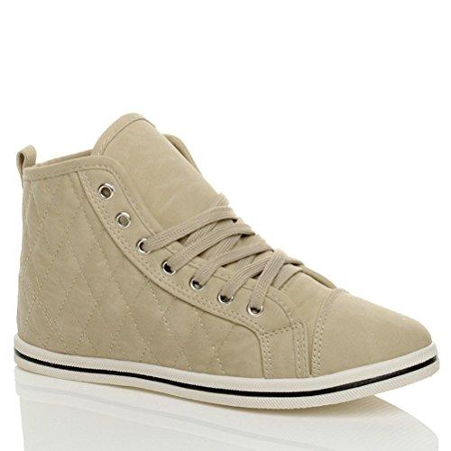 Bege lace De Cano Tamanho Lazer Das Nobuk Alto Tênis Mulheres Costurado Sneakers De Plana wnTFqP5T
