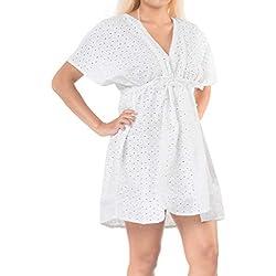 LA LEELA la Playa de baño Bikini Traje de baño de Las Mujeres de algodón Cubrir Blusa Blanca Lisa 2
