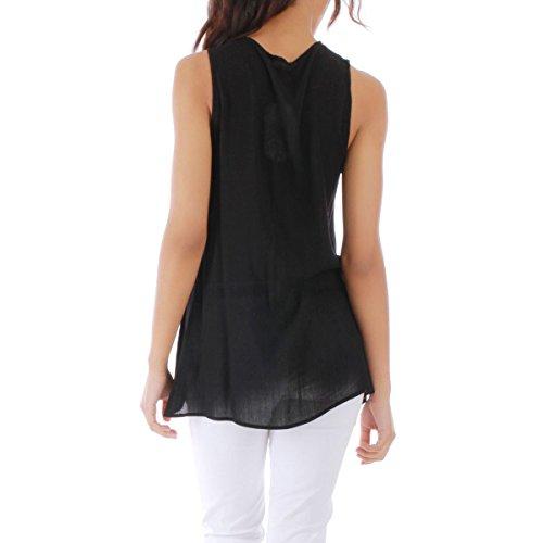 La Modeuse - Top en tissu femme sansmanches Noir