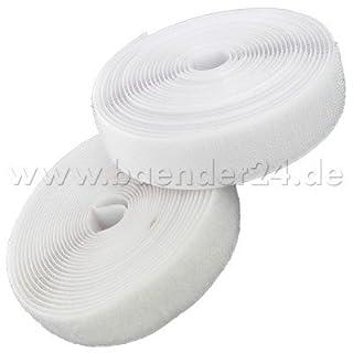 25m Alfagrip Klettband (25m Haken- und 25m Flauschband) - 25mm breit - weiss