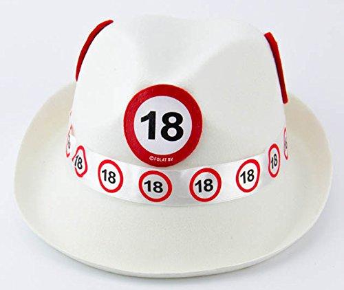 Folat 62318 Tribly Party Hut-Verkehrszeichen 18 Jahre, Unisex-Erwachsene, Weiß, Einheitsgröße