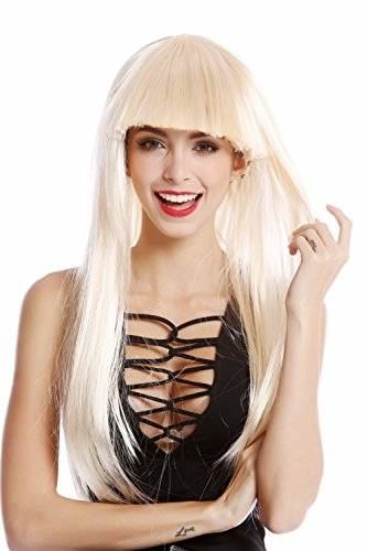 WIG ME UP - 1373-P88 Perücke Damenperücke Karneval Halloween lang glatt Pony blond hellblond Disco Glam