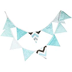 3,3 m Hermosa Dibujos Animados Patrón de Tela de Algodón 12 Banderas Triángulo Doble Cara Banderín Bandera Para La Boda Fiesta de Cumpleaños Decoraciones Guirnaldas